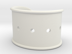 Cosplay Cuff Base (with holes for screw-back spike in White Natural Versatile Plastic: Large