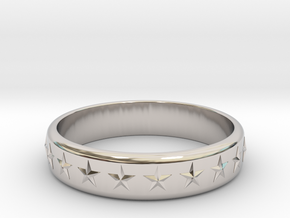 Stars Around (5 points, embossed, thick) - Ring in Rhodium Plated Brass: 6 / 51.5
