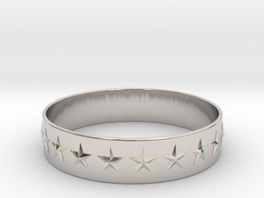 Stars Around (5 points, embossed, thin) - Ring in Rhodium Plated Brass: 6 / 51.5