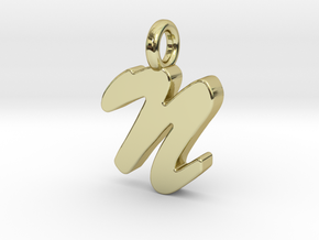 N - Pendant 2mm thk. in 18k Gold Plated Brass