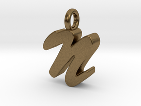 N - Pendant 3mm thk. in Natural Bronze