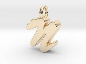 N - Pendant 3mm thk. in 14K Yellow Gold