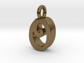O - Pendant 3mm thk. in Natural Bronze