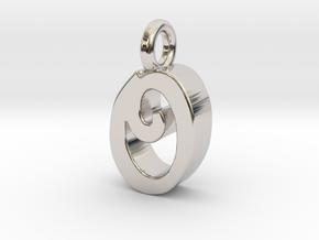 O - Pendant 3mm thk. in Rhodium Plated Brass