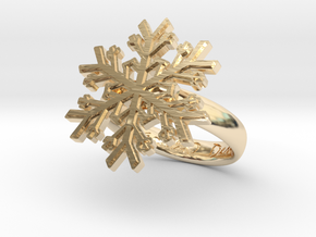 Snowflake Ring 1 d=16mm h35d16 in 14k Gold Plated Brass