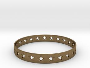 Stars Around (5 points, cut through) - Bracelet in Natural Bronze: Small