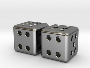 Tiny Metal Dice Set - Micro D6 in Polished Silver