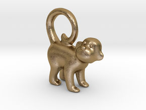 Monkey Earring in Polished Gold Steel