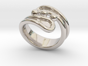 Threebubblesring 31 - Italian Size 31 in Rhodium Plated Brass