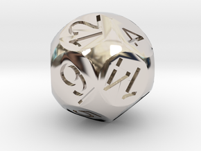 D14 Sphere Dice in Rhodium Plated Brass