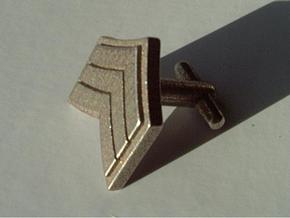 Sergeant Chevron Cufflinks in Polished Bronzed Silver Steel