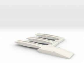 1/300 Mulberry Harbour Shore Ramp + 2 Off Bridges in White Natural Versatile Plastic