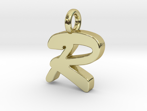 R - Pendant 2mm thk. in 18k Gold Plated