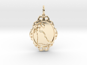 Victorian Cameo / Valentine's gift in 14k Gold Plated Brass