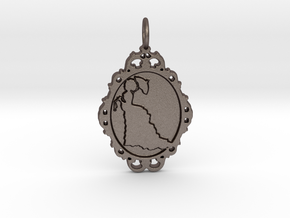 Victorian Cameo / Valentine's gift in Polished Bronzed Silver Steel