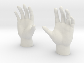 Generic Male Hands - Open Cupped in White Natural Versatile Plastic