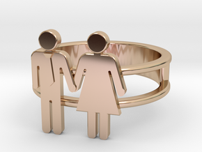 Love Collection Rings - Man and Woman Ring in 14k Rose Gold: 5 / 49