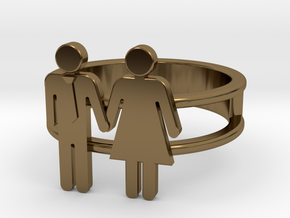 Love Collection Rings - Man and Woman Ring in Polished Bronze: 5 / 49