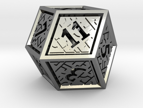 Hedron D12 (Hollow), balanced gaming die in Polished Silver