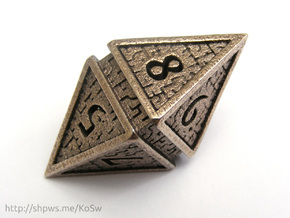 Hedron D8 (Hollow), balanced gaming die in Polished Bronzed Silver Steel