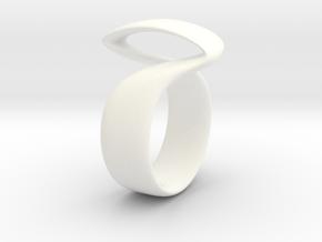 Twist Parallel ring in White Processed Versatile Plastic: 6 / 51.5