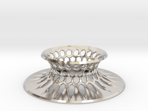 """The Universe Sphere Base """"Grid"""" in Rhodium Plated Brass"""