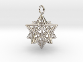 Pendant_Pentagram-Dodecahedron in Rhodium Plated Brass