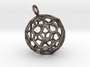 Pendant_Pentagonal-Hexecontahedron in Polished Bronzed Silver Steel