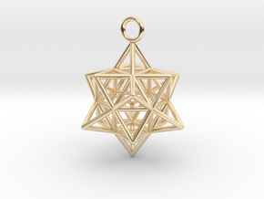 Pendant_Cuboctahedron-Star in 14k Gold Plated Brass