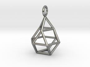 Pendant_Cuboctahedron-Droplet in Natural Silver