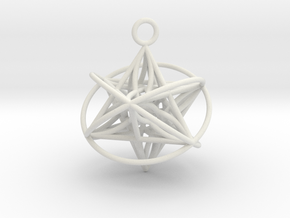 Pendant_Star of Life - Orbital in White Natural Versatile Plastic
