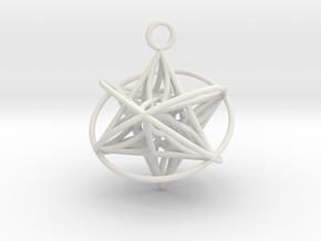 Pendant_Orbital-Merkaba in White Natural Versatile Plastic