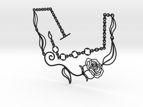 Leaves, Love & Roses Necklace  in Black Premium Versatile Plastic