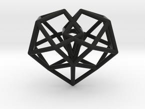 Pendant_Cuboctahedron-Heart in Black Premium Versatile Plastic
