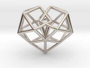 Pendant_Cuboctahedron-Heart in Rhodium Plated Brass