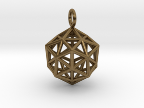 Pendant_ Cuboctahedron-Icosahedron in Natural Bronze