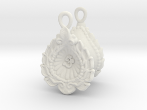 Diwali  / Loi Krathong AUM Earrings  in White Premium Versatile Plastic