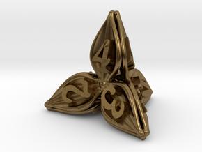 Floral Dice - D4 Gaming Die in Natural Bronze
