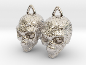Day of the Dead Earrings  2.5cm in Rhodium Plated Brass