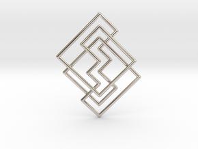 Cobweb Pendant in Rhodium Plated Brass: Medium