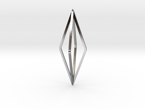 Minimalistic octahedron pendant in Polished Silver