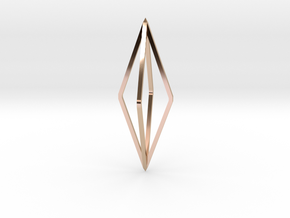 Minimalistic octahedron pendant in 14k Rose Gold Plated Brass