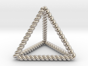 Twisted Tetrahedron RH in Rhodium Plated Brass