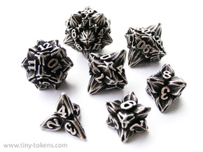 Floral Dice - Gaming Set + 10D10/decader (7 dice) in Polished Bronzed Silver Steel