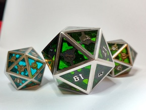 D20 Epoxy Dice extra large edition in Matte Black Steel