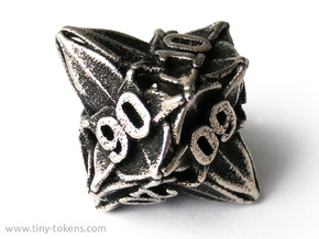 Floral Dice – 10D10 Gaming die (decader) in Stainless Steel