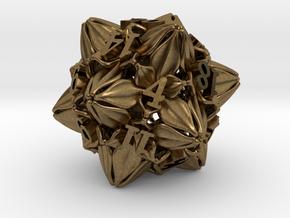 Floral Dice – D20 Gaming die in Natural Bronze