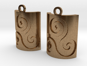 Triskelion Square Earrings in Natural Brass