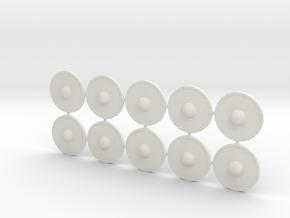 20mm diameter wooden shields in White Strong & Flexible