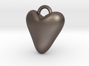 Heart Charm in Polished Bronzed Silver Steel